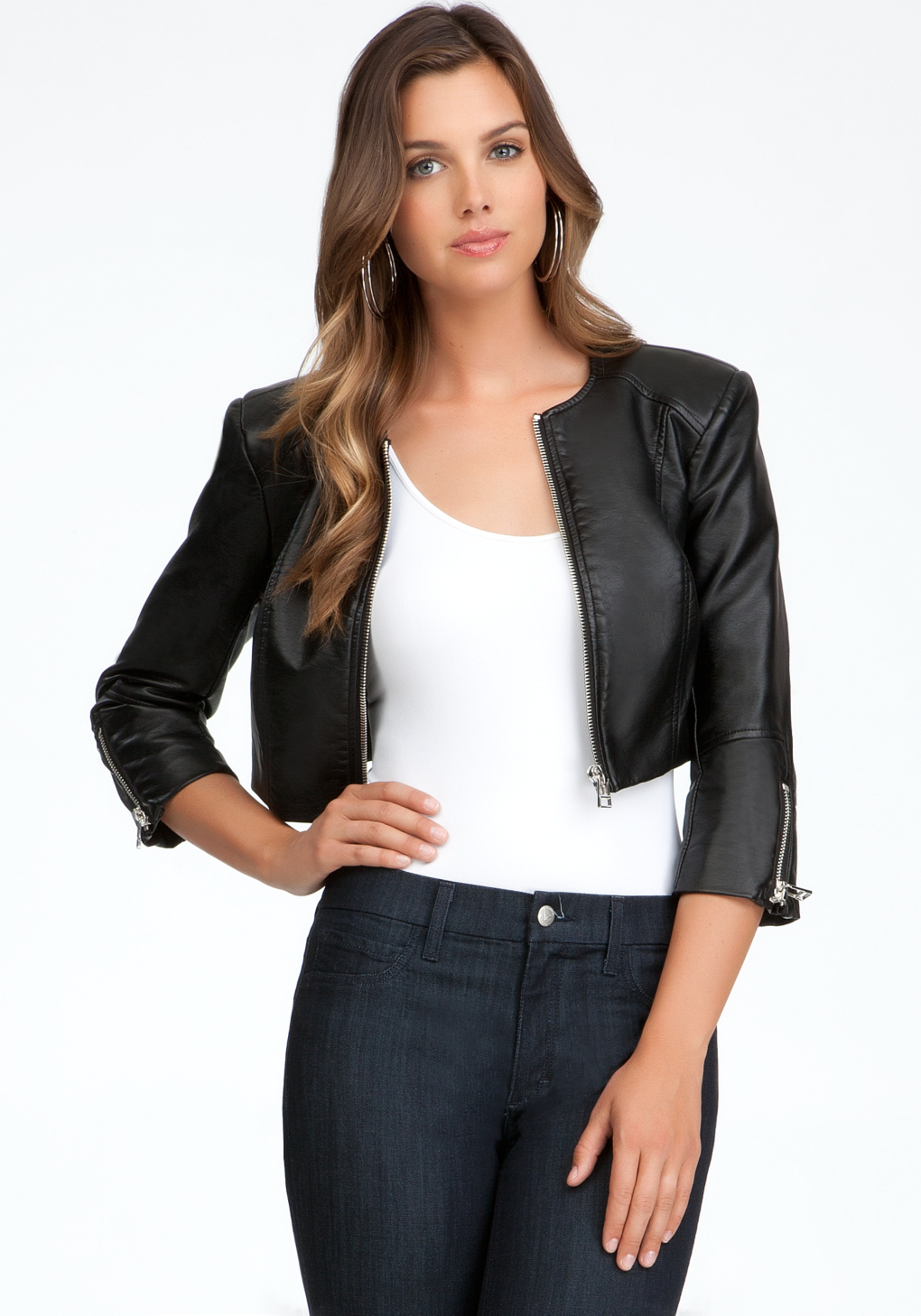 7421fca823275 Lyst - Bebe Cropped Zipper Leatherette in Black