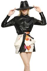 Blumarine Nappa Leather Silk Chiffon Shirt - Lyst