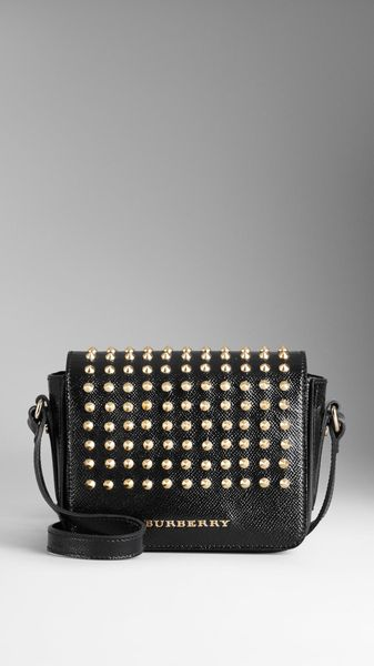 Burberry Studded Patent London Leather Crossbody Bag - Lyst