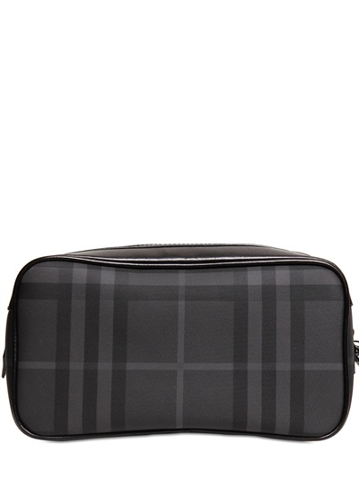 721986d6a7c9 Lyst - Burberry Brit Check Toiletry Bag in Black for Men