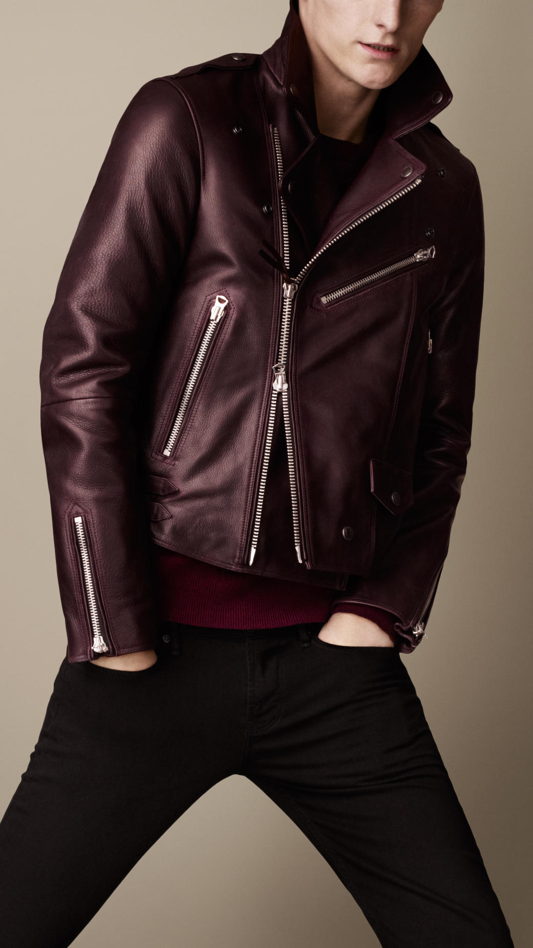 burberry mens leather biker jacket