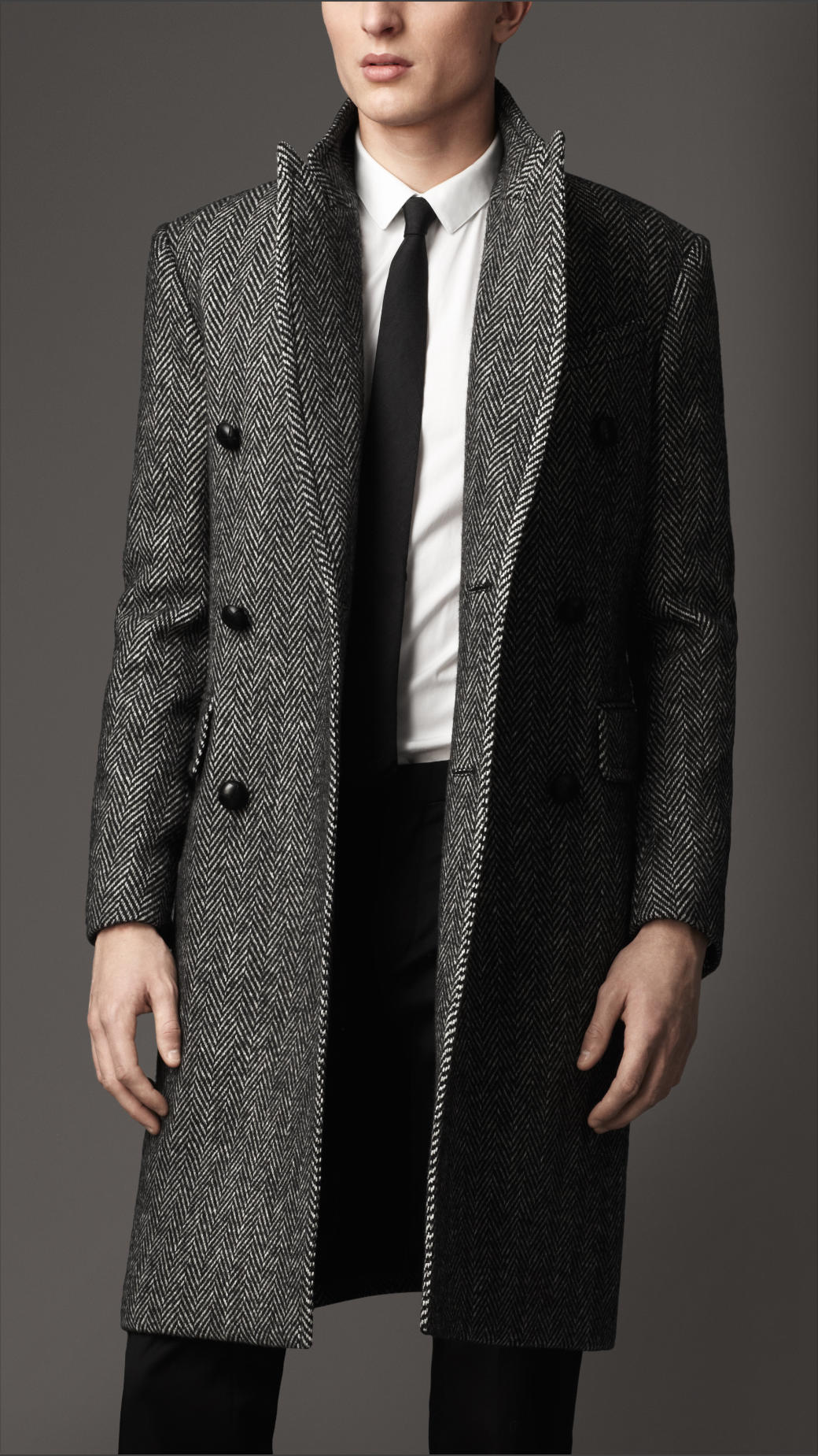 Burberry Herringbone Lambswool Coat in Gray for Men | Lyst