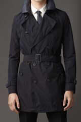 Burberry Mid-length Leather Collar Trench Coat - Lyst