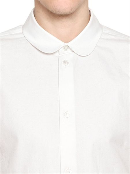 carven oxford cotton round collar shirt in white for men