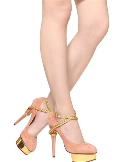 8988f8c6b7a Lyst - Charlotte Olympia 150mm Dolly Suede Pumps in Pink
