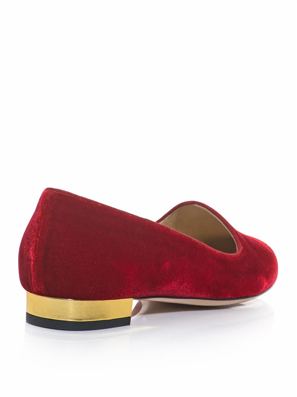 Charlotte olympia Charlottes Web Velvet Slippers in Red | Lyst