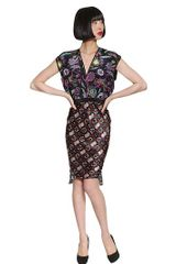 Cher Michel Klein Printed Silk Crepe Ruffled Dress - Lyst