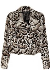 Christopher Kane Animal Print Goat Hair and Leather Biker Jacket - Lyst
