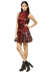 Christopher Kane Feather Silk Satin Dress - Lyst