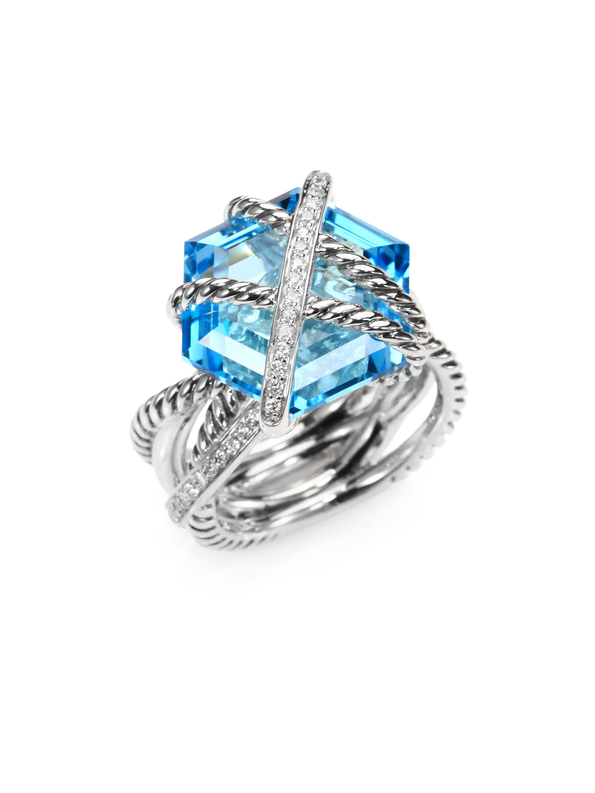 david yurman blue topaz and sterling silver ring