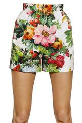 Dolce & Gabbana Printed Stretch Cotton Drill Shorts - Lyst