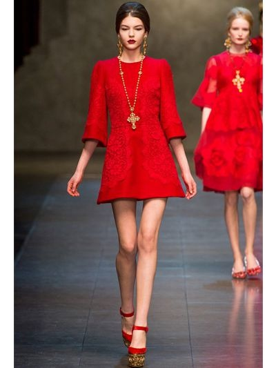 Dolce & gabbana Macramè Lace and Wool Drill Dress in Red | Lyst
