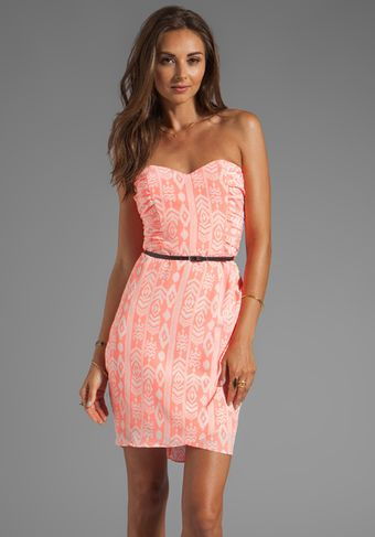 Dolce Vita Maylee Indonesian Ikat Strapless Wrap Dress in Coral - Lyst