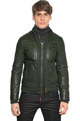 DSquared2 Soft Nappa Leather Knit Biker Jacket - Lyst