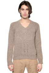 DSquared2 Chunky Wool Knit V Neck Sweater - Lyst