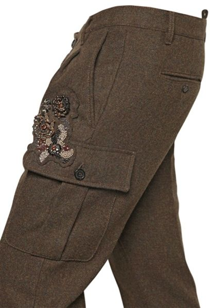 Dsquared 178 175cm Heavy Wool Cargo Trousers In Brown For Men