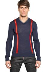 DSquared2 Wool Knit V Neck Sweater - Lyst