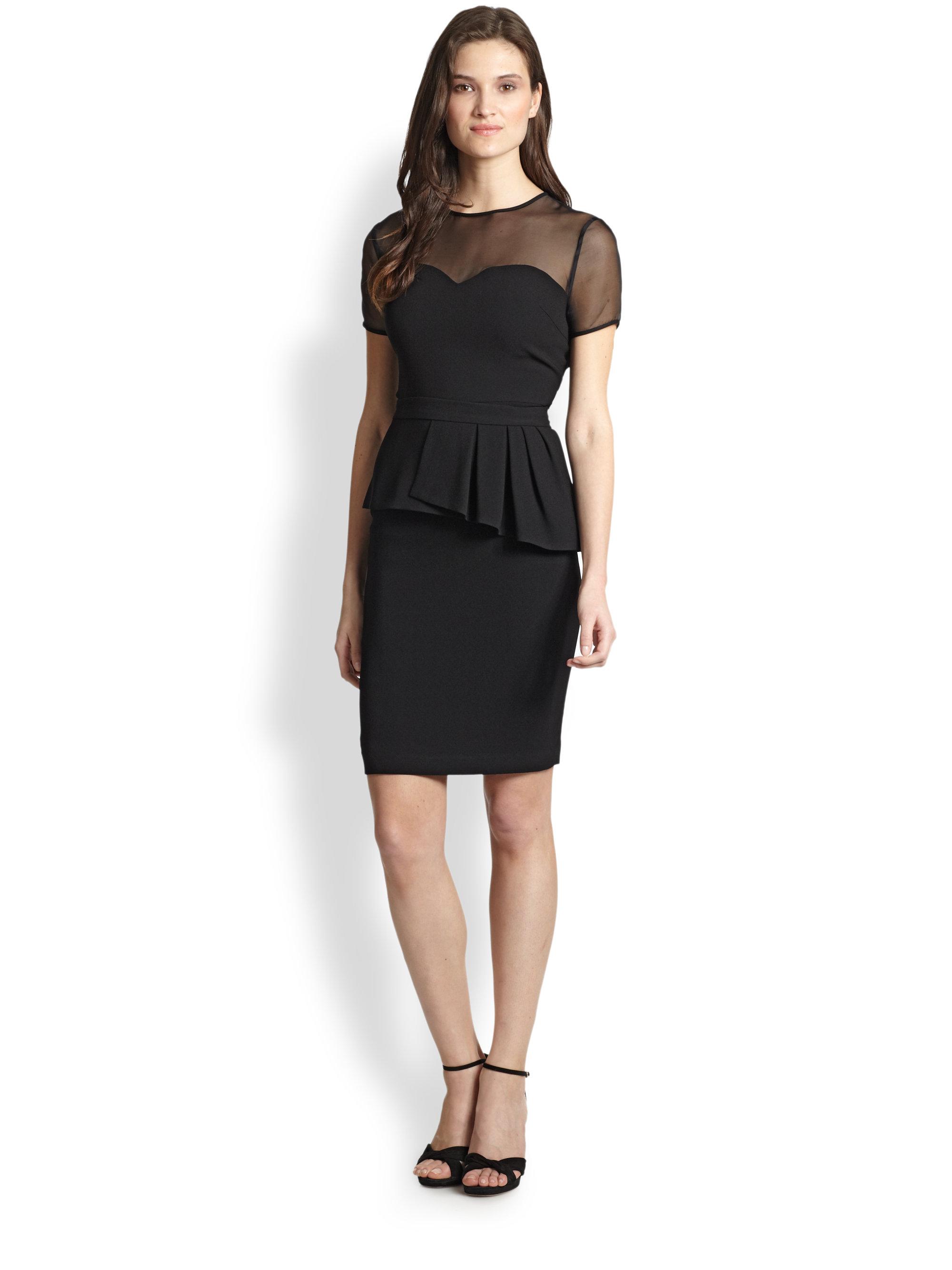 Lyst Elie Tahari Sheer Bodice Back Peplum Dress In Black