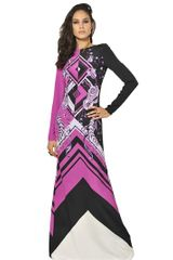 Emilio Pucci Printed Crepe De Chine Long Dress - Lyst