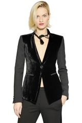 Emporio Armani Velvet and Stretch Double Jacket - Lyst