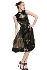 Erdem Flower Print Silk Satin Organza Dress - Lyst