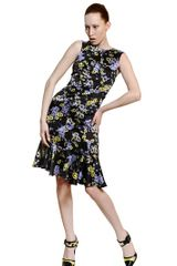 Erdem Flower Printed Silk Satin Dress - Lyst