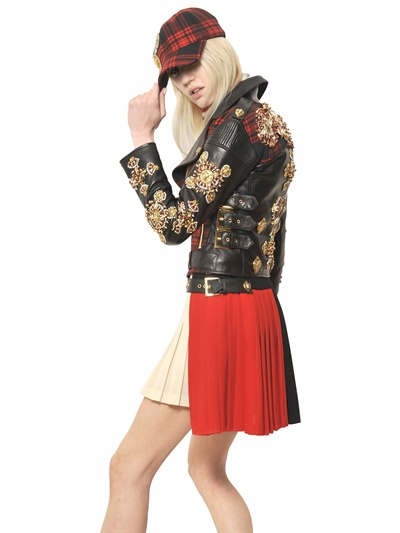 Lyst Fausto Puglisi Embroidered Nappa And Tartan Jacket