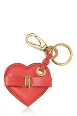 Ferragamo Heart Saffiano Leather Key Holder - Lyst