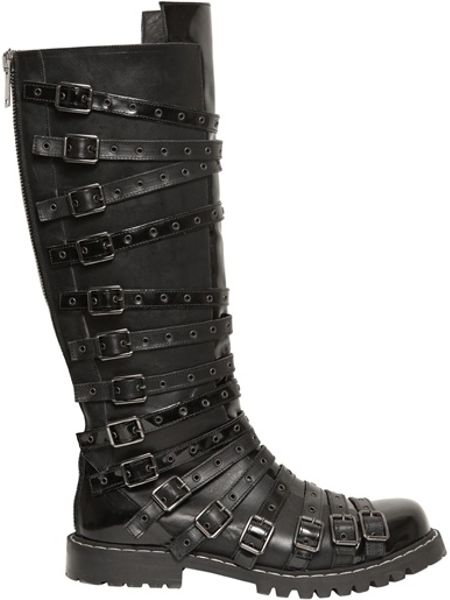 gareth pugh belted leather boots in black for lyst