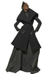 Gareth Pugh Leather and Waffle Wool Coat - Lyst