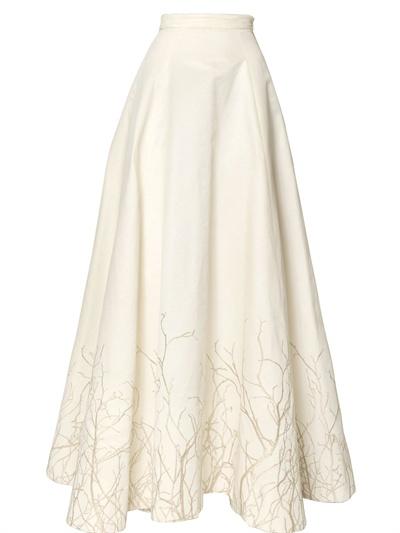 Gareth pugh Embroidered Silk Cotton Faille Skirt in White | Lyst