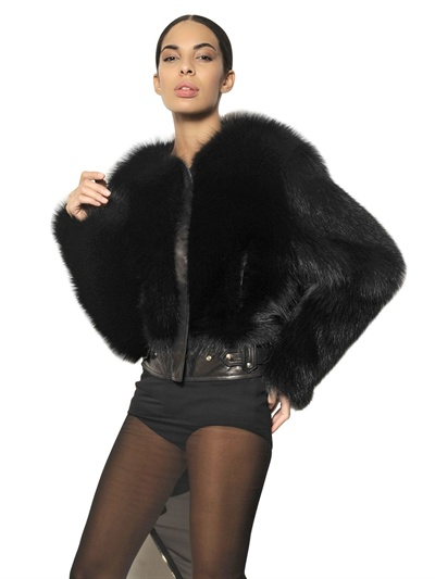 Givenchy Short Marmot Fur Coat in Black | Lyst