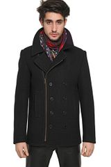Givenchy Wool Boucle Zipped Pea Coat - Lyst