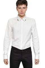 Givenchy Contrasting Collar Cotton Poplin Shirt - Lyst