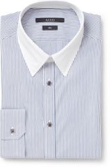 Gucci Blue Striped Contrastcollar Cotton Shirt - Lyst