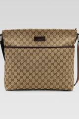 Gucci Original Gg Pocketed Canvas Messenger Bag with Signature Web Strap - Lyst