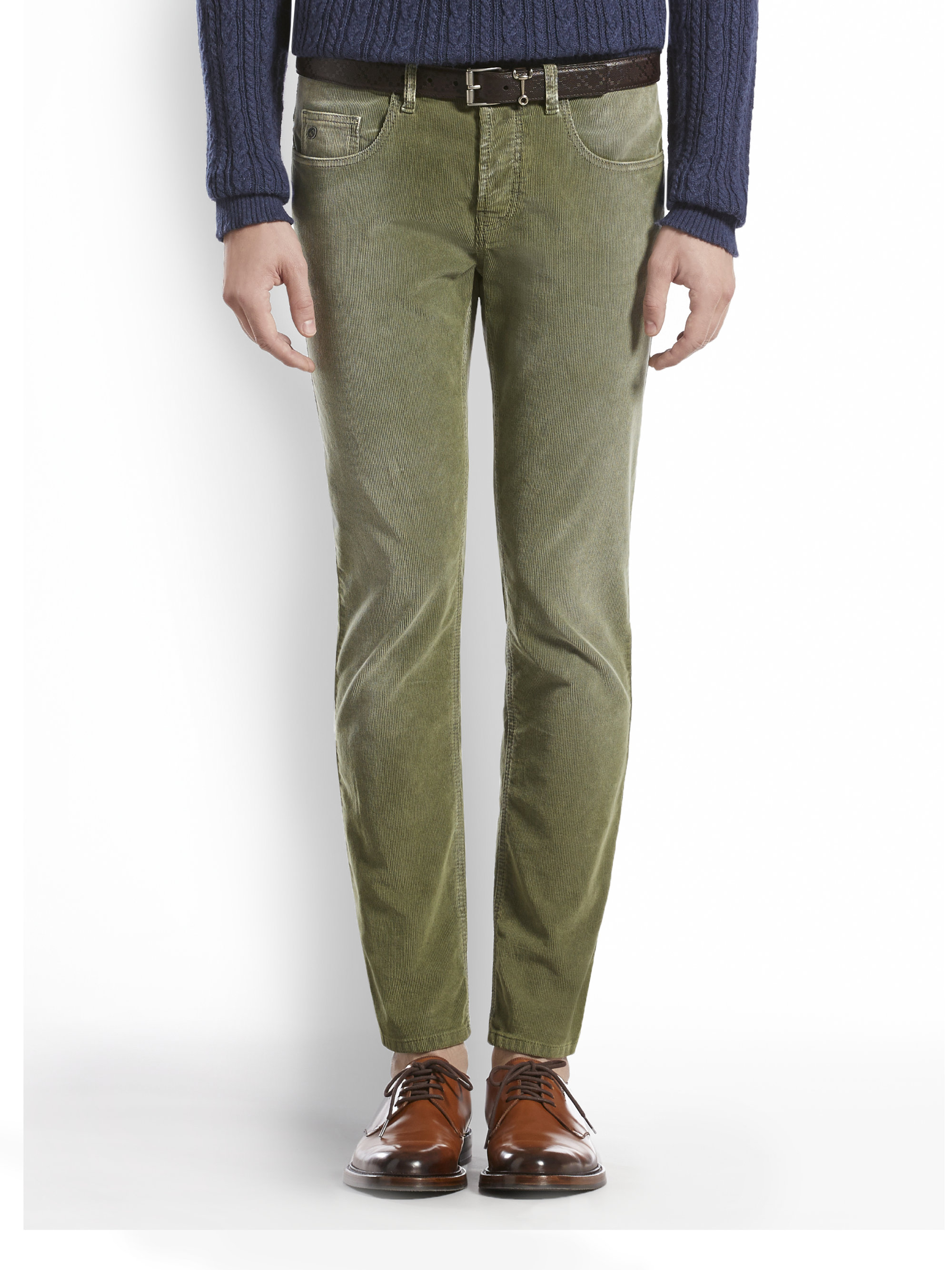 Gucci Stonewashed Stretch Velvet Corduroy Pants in Green for Men ...