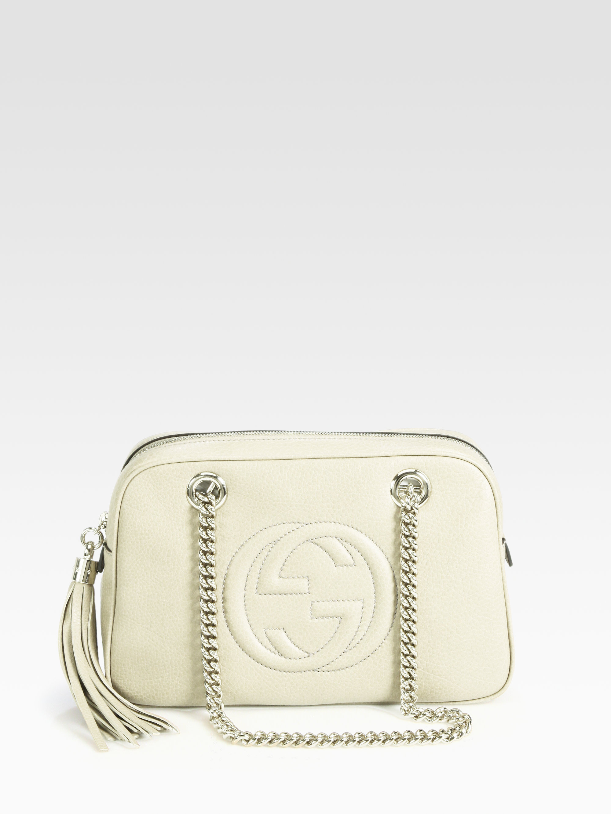 1490cb5554c Gucci Soho Leather Shoulder Bag in White - Lyst