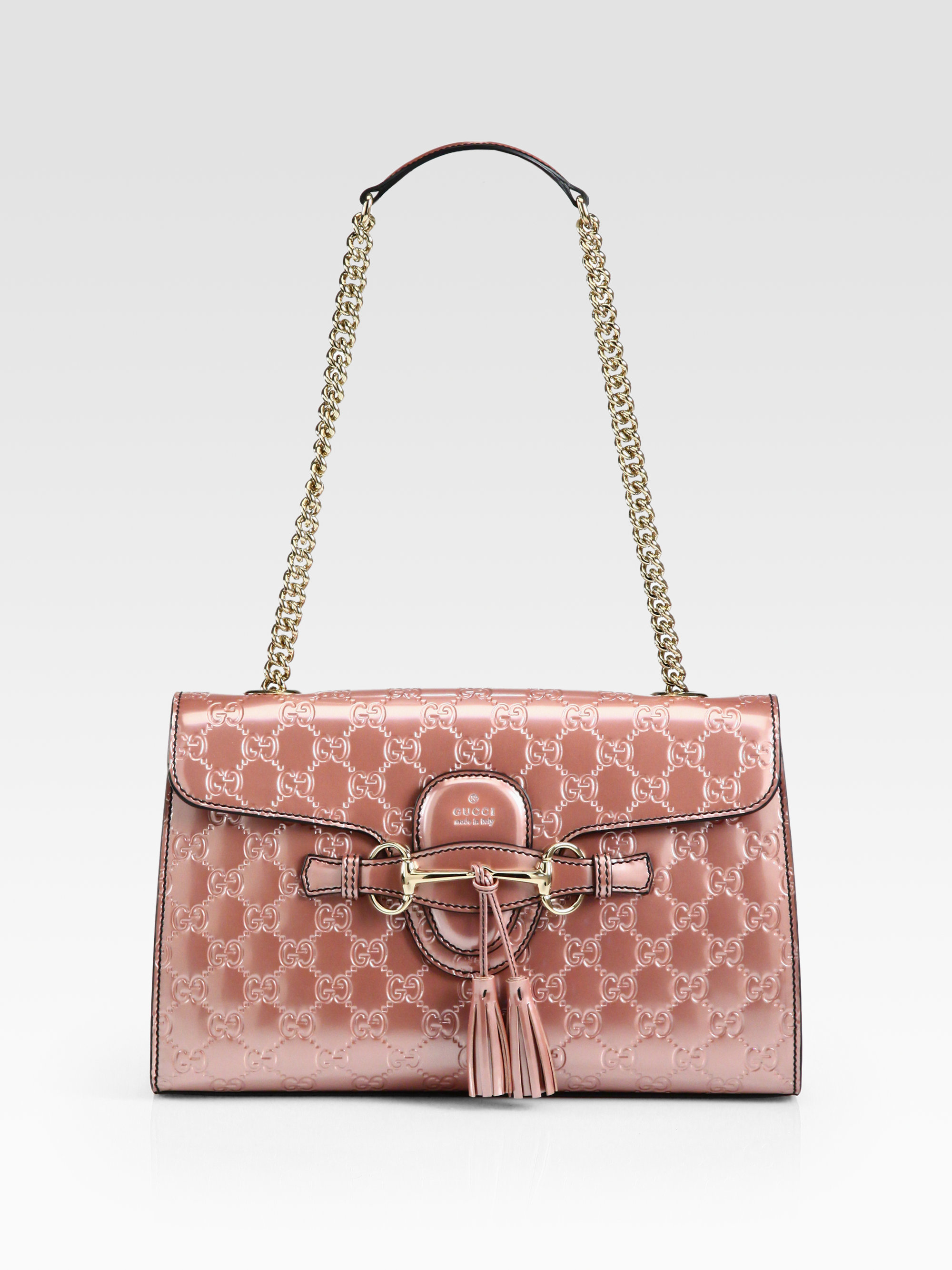 ea6cb4c2a0d Lyst - Gucci Emily Light Pink Shiny Microguccissima Shoulder Bag in Pink