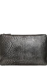 Jil Sander Large Fine Print Leather Envelope Clutch - Lyst