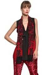 Just Cavalli Sequined Stretch Crepe Top - Lyst