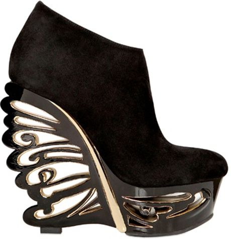 Le Silla 150mm Suede Butterfly Wedges in Black