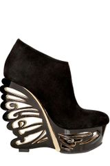 Le Silla 150mm Suede Butterfly Wedges in Black - Lyst