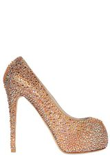Le Silla 130mm All Over Swarovski Calfskin Pumps in Gold - Lyst