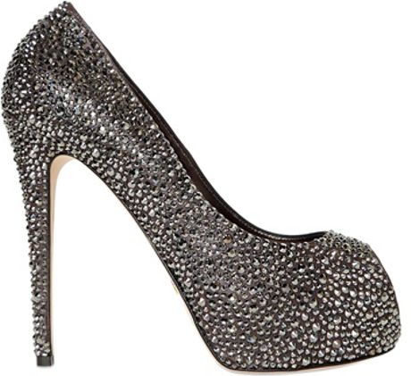 Le Silla  All Over Swarovski Calfskin Pumps in Silver (gunmetal)