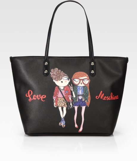 adc381ebc714 Love Moschino Charming Hipster Girls Tote Bag in Black (black multi) | Lyst