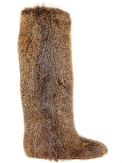 Marni Beaver Fur High Boots In Natural Brown Lyst