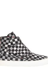 McQ by Alexander McQueen Optical Printed Canvas High Top Sneakers - Lyst