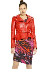 McQ by Alexander McQueen Leather Peplum Jacket - Lyst