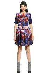 MSGM Printed Silk Gazar Dress - Lyst
